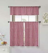 """100% Cotton Red 3 Pc Small Window Curtain Set: Gingham, 1 Valance, Two 36"""" Tiers"""