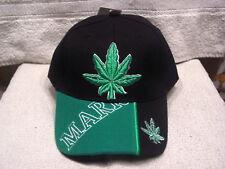 MARIJUANA LEAF WEED CANNABIS BASEBALL CAP HAT ( BLACK )