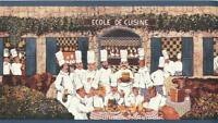 Wallpaper Border French Le Bistro Chef Paris Cafe Blue Trim