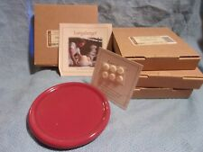 Longaberger set Of 4 (four) Paprika Candle Coasters, Crock Lids New in Box