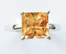 NATURAL GOLDEN CITRINE RING GENUINE 9K 375 WHITE GOLD SIZE R COCKTAIL RING NEW