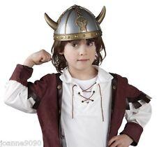 Niños Chicos Vikingo Casco Saxon Celta Guerrero Medieval Elaborado Vestido sombrero con cuernos