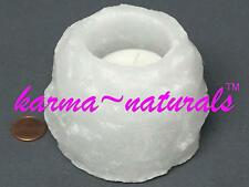 HIMALAYAN Natural Crystal SALT Tealight CANDLE Holder - Small White - Aloha Bay