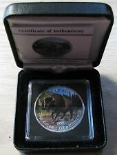 2013 $5 1oz .9999 Silver Maple Leaf SML Wood Bison Full Colour Canada wildlife