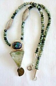 Echo of the Dreamer Pendant Necklace Boulder Opal Nautilus Rutilated Quartz