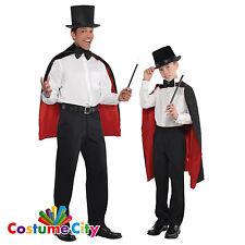 Gli adulti Bambino Nero & Rosso Mago Mantello Magic Costume Accessorio