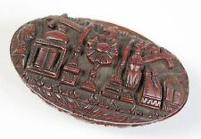 Treen Portuguese or French carved Coquilla Nut Snuff Box c1800. Catholic