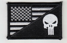 """10 Punisher in USA Flag (B/W) Embroidered Patches 3""""x2"""""""