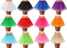 Women's Teen Adult Classic Elastic 4 Layered Tulle Tutu Skirt for Dress up Party