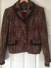 Ladies tweed look skirt suit. Brown/red in colour. Medium size.  Kick pleats in.