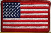 United States USA Flag Embroidered Iron-On Patch MC American Emblem Red  Border