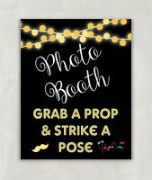 Photo Booth Sign, Wedding Party Sign, Grab a Prop & Strike A Pose 8x10 UNFRAMED