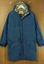 vtg WOOLRICH wool lined parka jacket coat MEDIUM blue long usa winter hooded