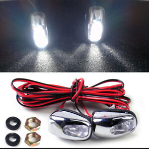 2x Car Universal White LED Light Windshield Washer Wiper Jet Water Spray Nozzle