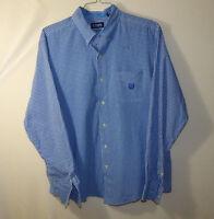 Ralph Lauren Chaps Mens Button Down Dress Shirt Blue Plaid Size Extra Large XL