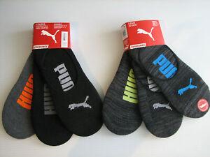 Puma Invisible Socks 6 pair Men's No Show No Slip Heel 6-12.5