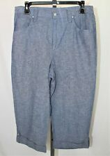 96eb93a7cad Womens New Alfred Dunner size 10 blue Lightweight capri cropped pants