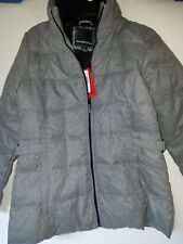 Women's Weatherproof Down & Feather Filled Puffy Quilted Jacket Coat Gray Medium