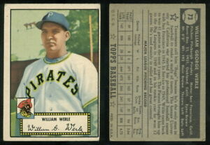 (69430) 1952 Topps 73 William Werle Black Back Pirates-GD