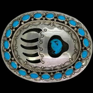 Sterling Silver Turquoise Bear Paw Claw Native American Cowgirl Vtg Belt Buckle