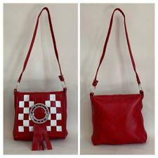 Vintage Inspired 1960s Mods Vinyl Red & White Tassel Shoulder Bag Front Buckle