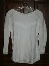 Elena Baldi White Linen and Lace Shirt - Sz. S - Made in Italy 100% Linen