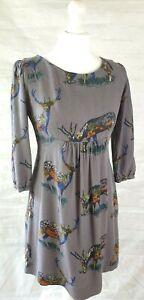 Boden Multicoloured Stag Print Dress Empire Waistline 3/4 Sleeves UK Size 8R