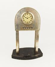 Vintage 1920s Art Deco KIENZLE Alpacca Chrome Plated Table Clock Bakelite Base