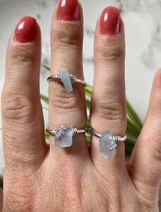 Aquamarine gemstone chip Wire wrap Ring Adjustable Crystal chakra healing reki