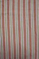 2 YARDS PEACH & GREEN STRIPED FABRIC Woven Upholstery Chair Pillow Bench Remnant