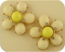 2 Hole Beads Flowers Ivory & Yellow Petals with Clear Crystals ~ Sliders QTY 2