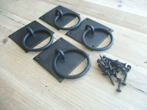 """4 Hand Forged Chest Handles Pulls Grasp Ring Handle Iron 3 1/8"""" Primitive Countr"""