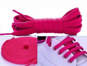 Flat Coloured Shoe Laces Shoelaces Football Boots Trainer Shoes Kids Adults