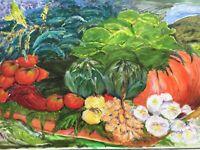 Naturalist Stillleben mit Äpfeln Knoblacu Zwiebeln -  Ölgemälde - 50 x 70 cm