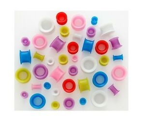 1 Pair Pearl Pearlescent Flexi Silicone Tunnels Ear Plugs Gauges Neon Rainbow