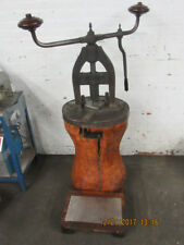 Antique Rare Hand Operated Screw/Fly Press with Round Wood Base Circa 1880