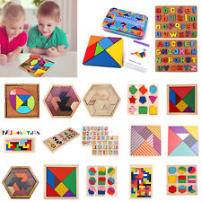 Wooden Board Puzzles Kids Baby Early Learning Educational Game Toys Tangram