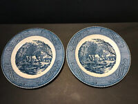 Currier And Ives Royal China Dinner Plates Set Of 2- 10""