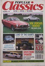 Popular Classics 09/1990 featuring Opel GT, VW Karmann Ghia, Volvo, Austin