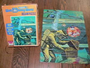 VTG 70s WALT DISNEY WORLD JIGSAW PUZZLE 20,000 LEAGUES UNDER THE SEA 100 PC 100%