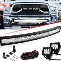 "10-17 Dodge Ram 2500/3500 Hidden Bumper 40"" 42"" Curved LED Bar Upgrade+2x 4"" Pod"
