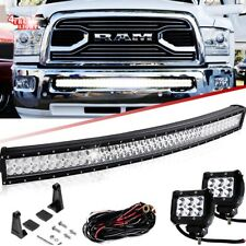"For 10-17 Dodge Ram 2500/3500 Hidden Bumper 40""42"" Curved LED Bar Upgrade+4"" Pod"