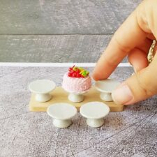 50x White Ceramic Cake Stand Bakery Display Dollhouse Miniatures Wholesale Lot