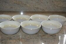 Set of New 7 Nova hand painted bowls in cream and white