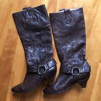 Frye Steffi Harness Boots Dark Brown Leather Low Heels Women Size 7M