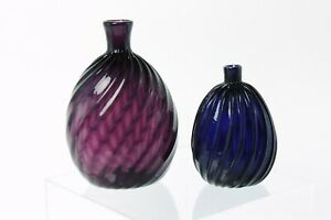 Emil Larson Handblown Stiegel Flask Pair South Jersey glass FREE SHIPPING flasks