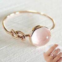 Fashion 18K Rose Gold Pink Moonstone Ring Opal Bridal Proposal Wedding Party