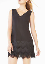 NEW* BCBG MAXAZRIA Gorgeous Addilyn Fringe A-line Black Dress Size 10 $298.00