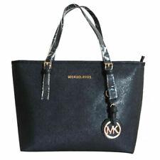 MK Jet Set Large Travel Handbag Card Case Tote MK PVC Signature Vanilla Black