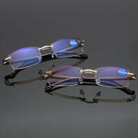 Reading Glasses 1.0~4.0 Rimless Frame Anti-blue Light Lens Elegant Men Eyeglass